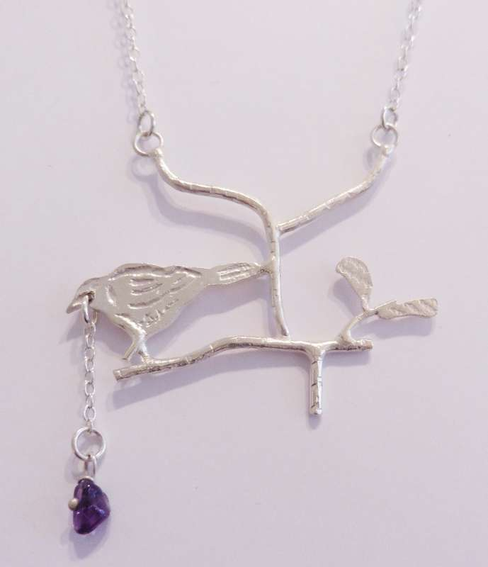 Bird Necklace with Amethyst