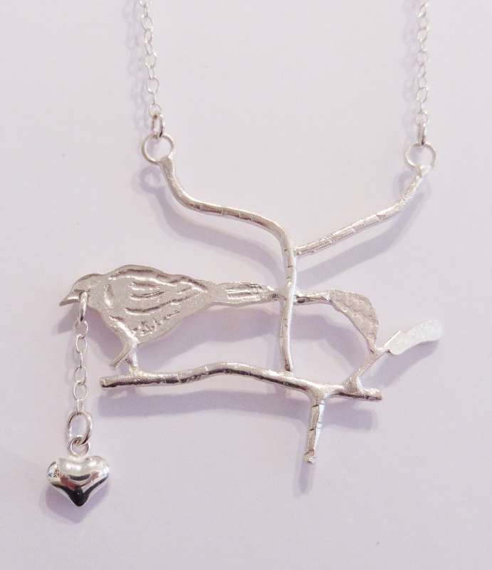 Bird Necklace with Heart