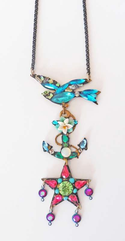 Bird, anchor and star necklace