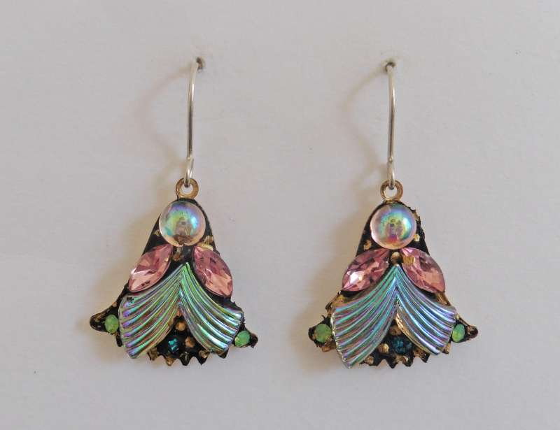 Pearlescent pink fan drop earrings