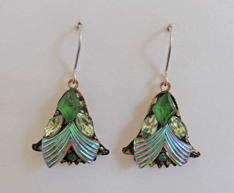 Pearlescent green fan drop earrings