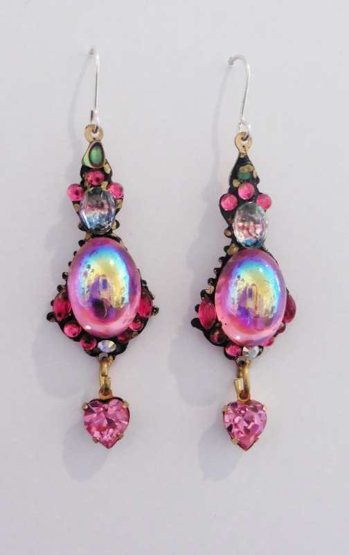 Pink and gold double drop earrings