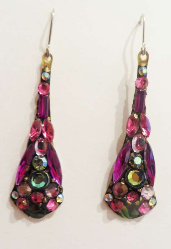 Large pink drop earrings