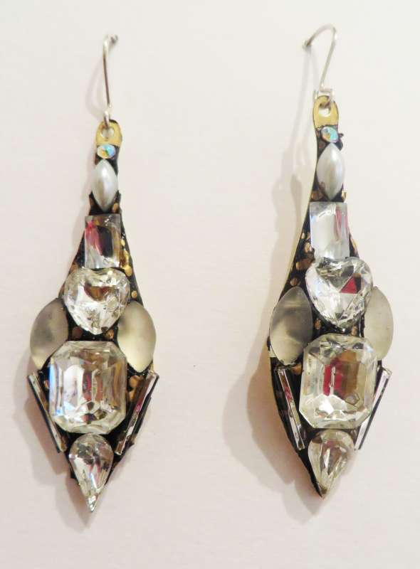 Large white drop earrings