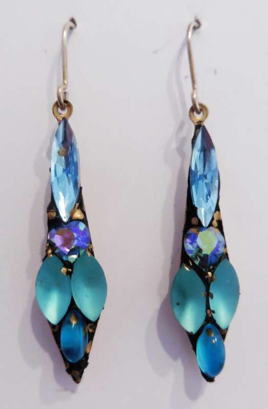 Blue and turquoise medium drop earrings