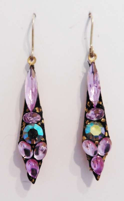 Lilac and purple medium drop earrings