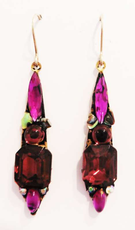 Purple medium drop earrings