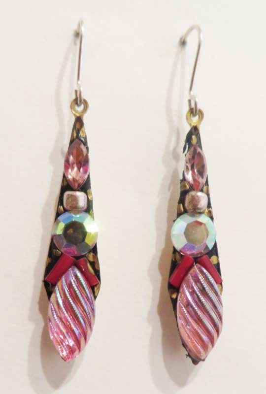 Medium pink and white drop earrings