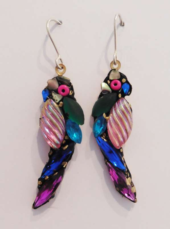 Blue and purple parrot earrings