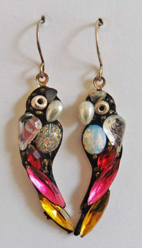 Pink and yellow parrot earrings