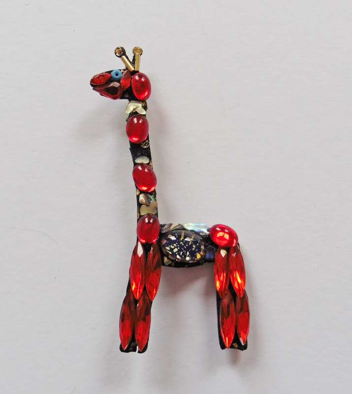 Red Giraffe Brooch