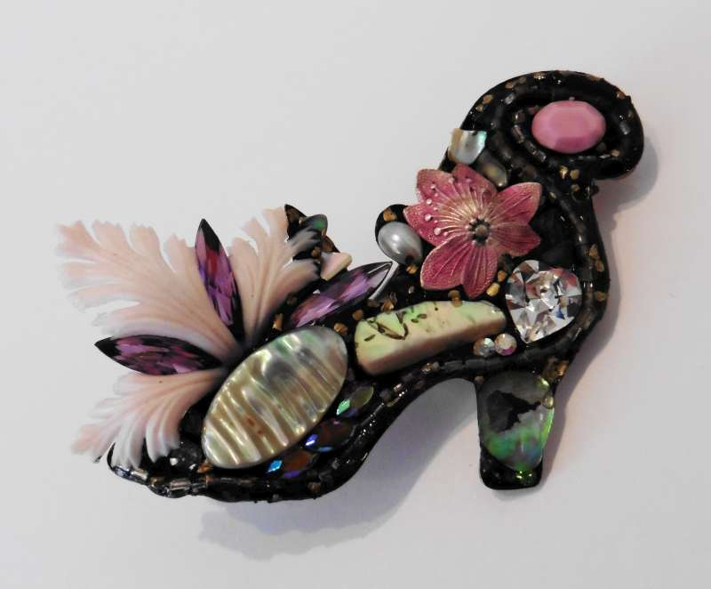 Pink Shoe Brooch