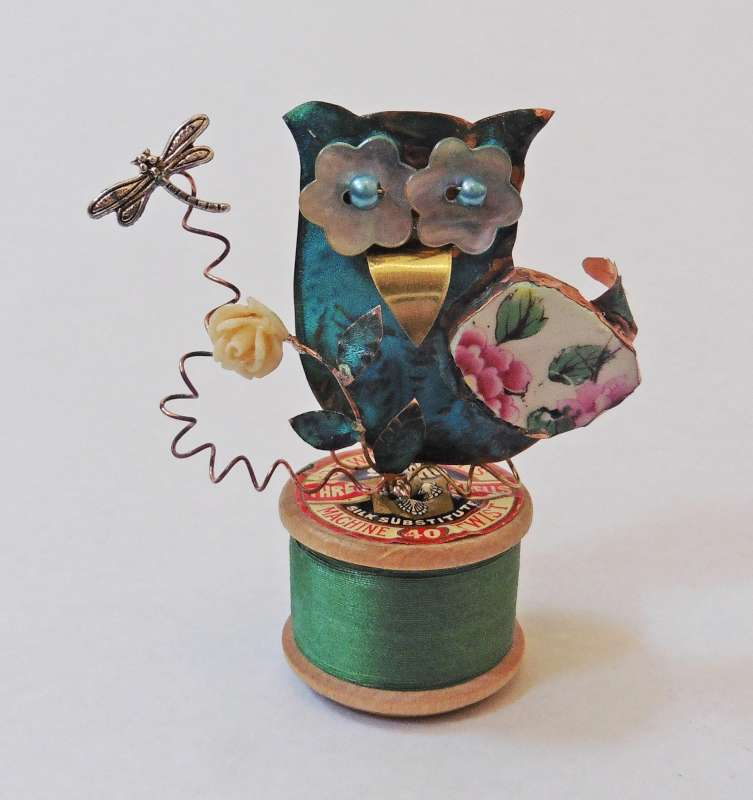 Owl on a Green Cotton Reel