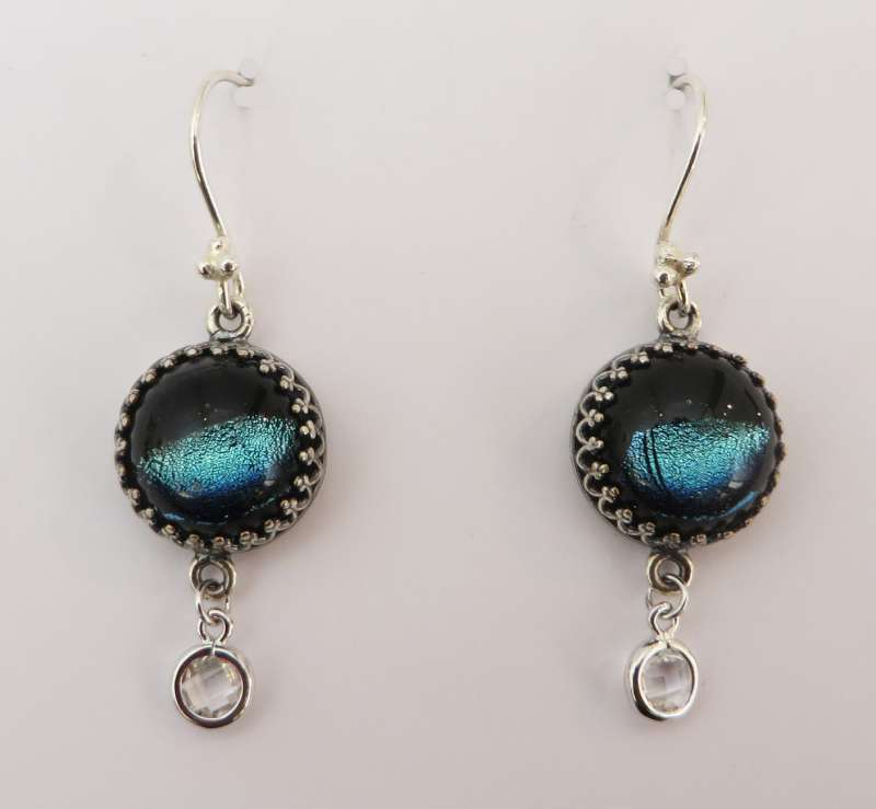 Moonshine and black glass charm earrings