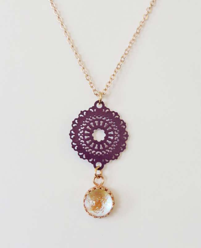 Magenta and rose gold mini mandala necklace