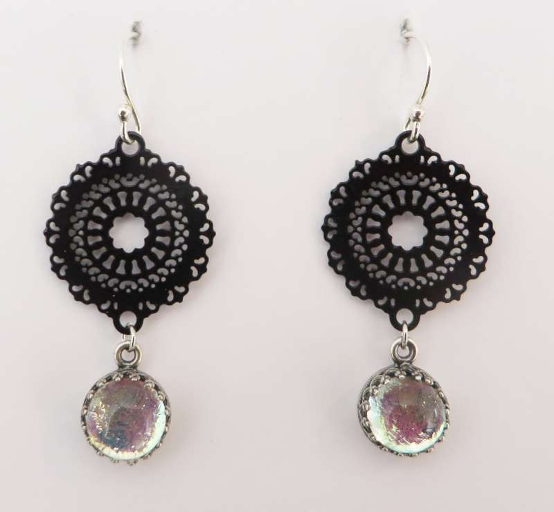 Black and baby pink mini mandala earrings