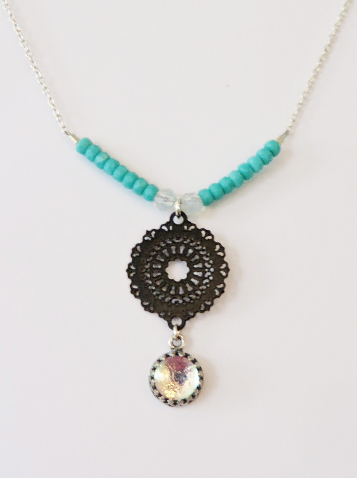 Black and baby pink mini mandala necklace