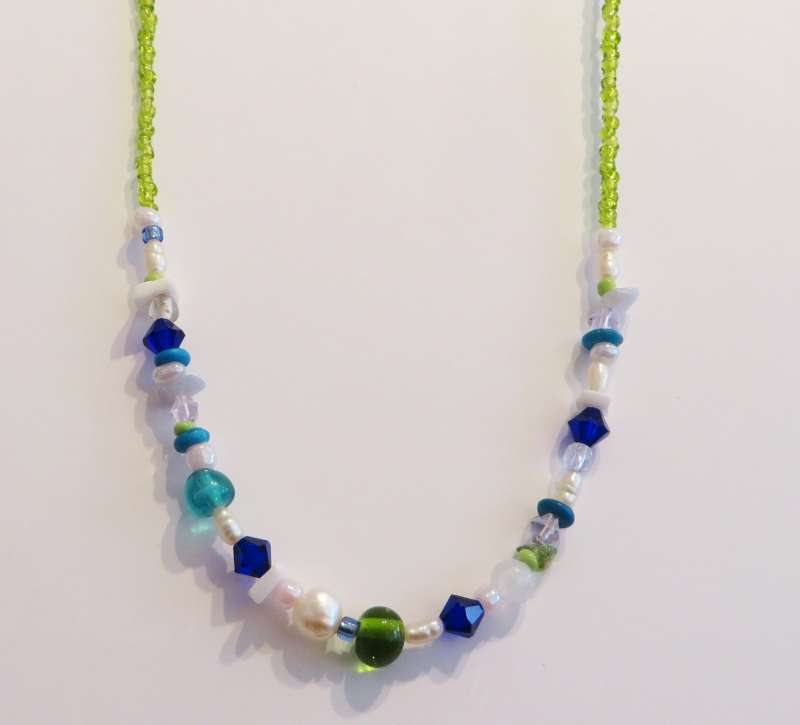 Blue, white and green necklace