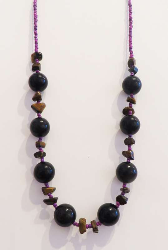 Black, brown and purple necklace