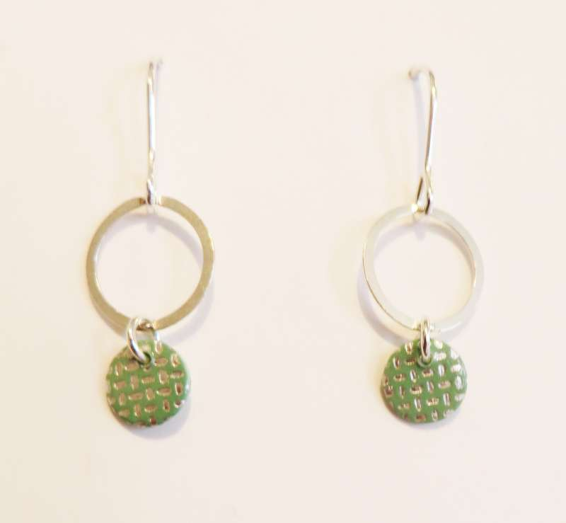 Round green droplet earrings