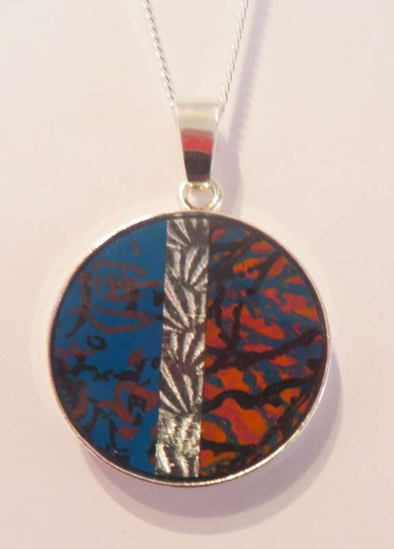 Circle Pendant (blue/orange)