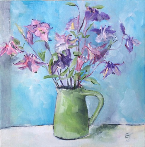 Green Jug of Hedgerow Aquilegia