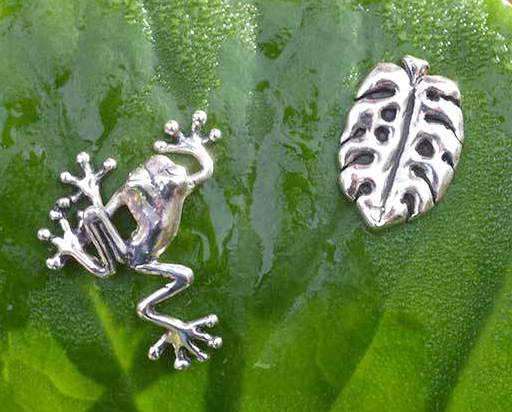 Tree Frog and Cheese Plant Stud Earrings