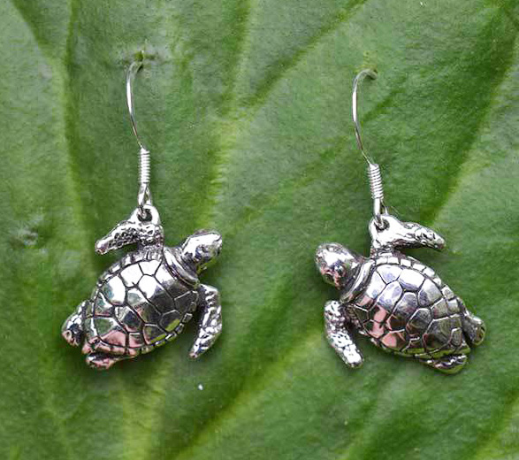 Green Sea Turtle Drop Earrings