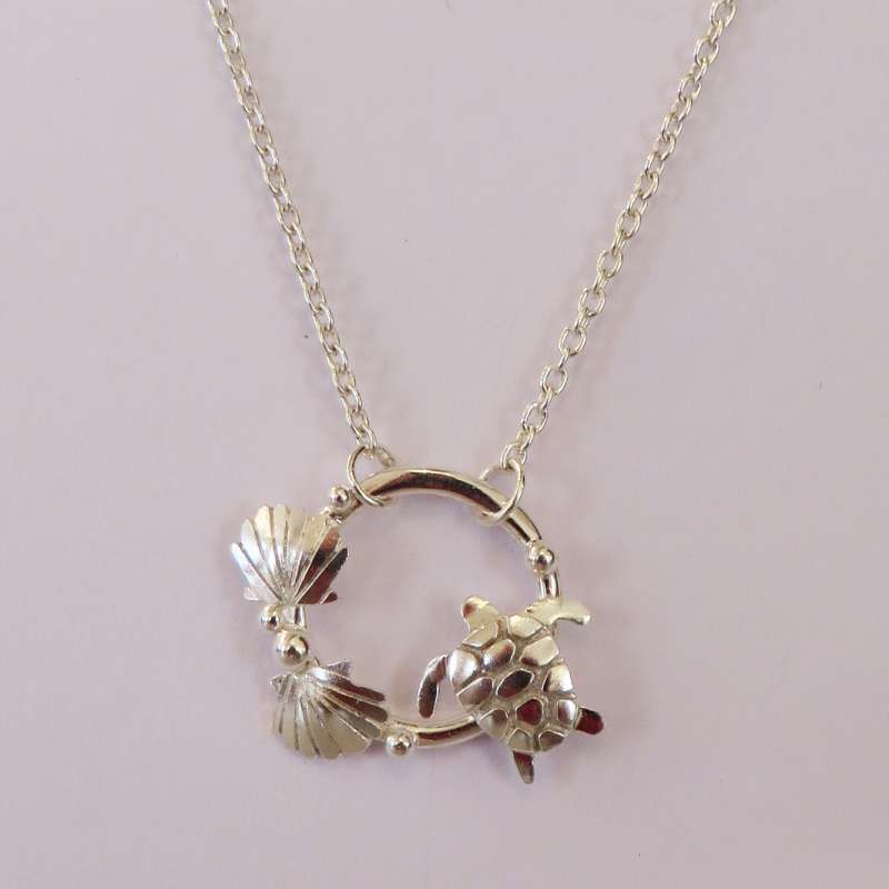 Turtle and Clams Ring Necklace