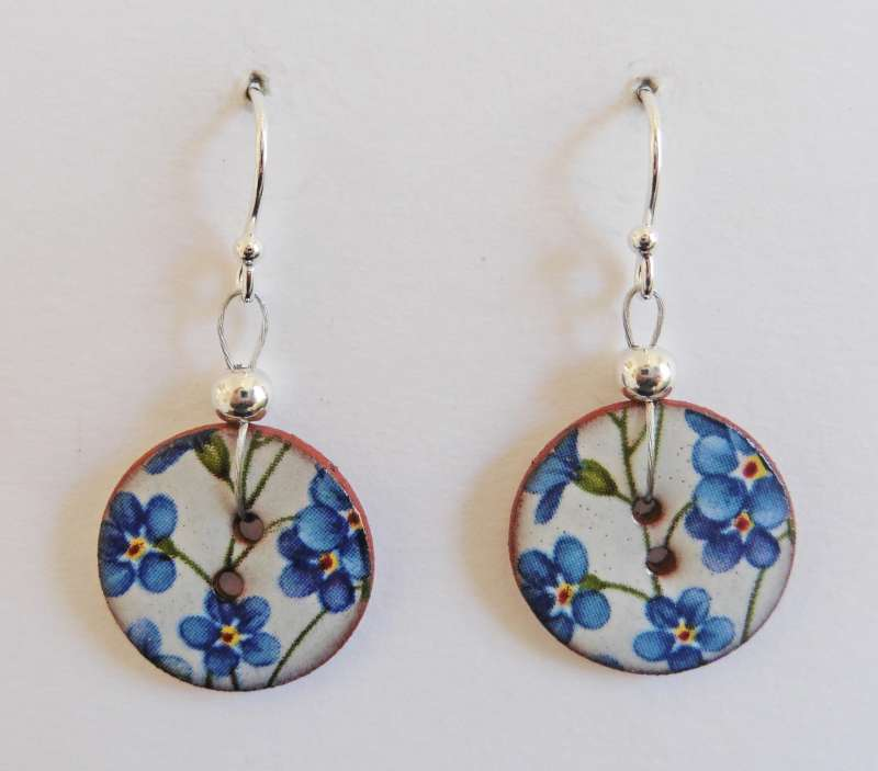 Blue floral disc drop earrings