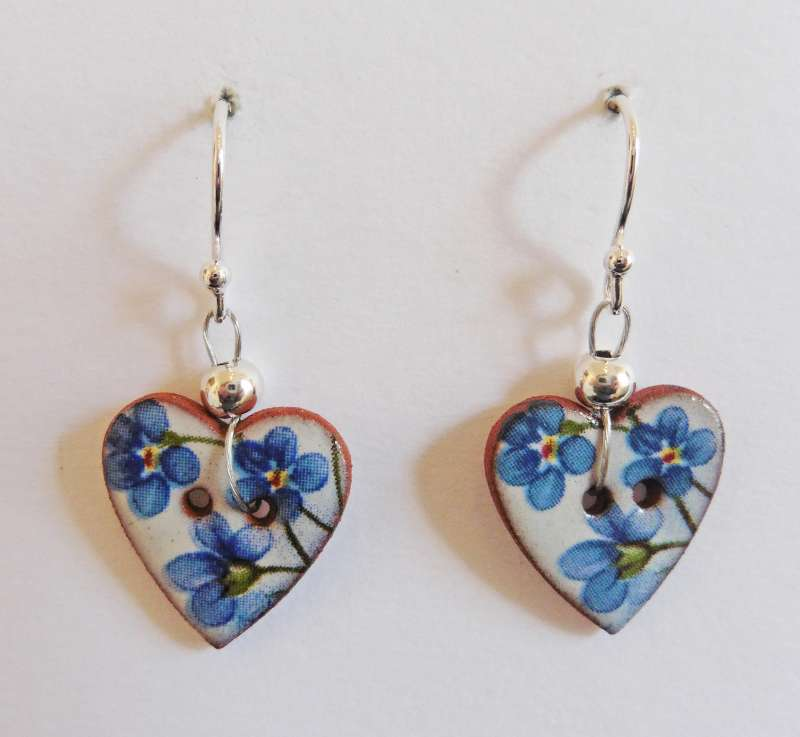 Blue floral heart drop earrings