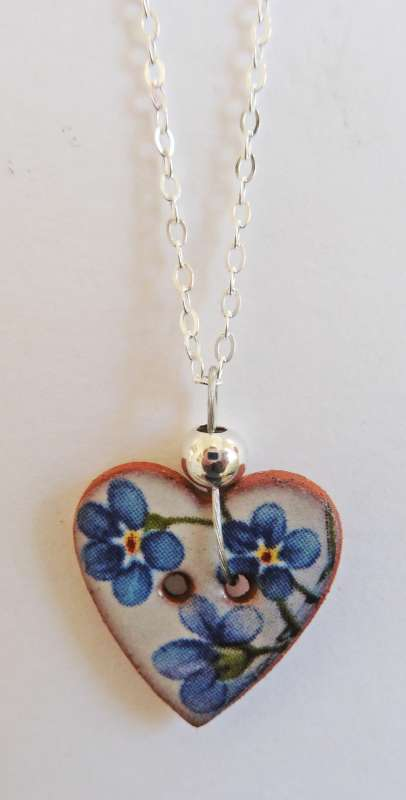 Blue floral heart necklace