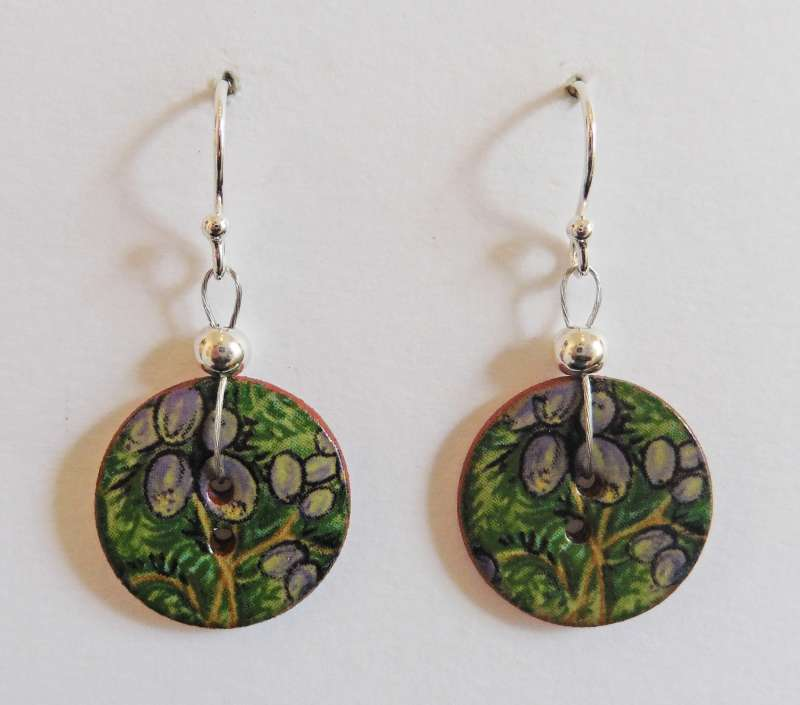 Green floral disc drop earrings