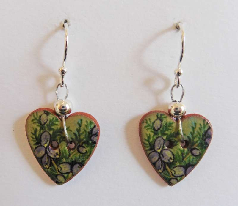 Green floral heart drop earrings