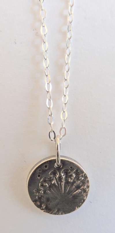 Small dandelion disc necklace