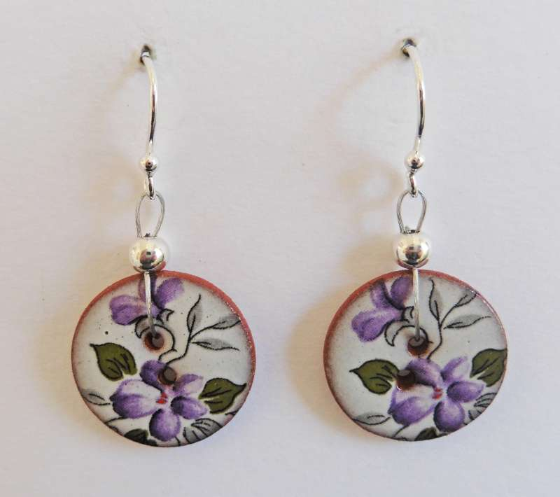 Violet floral disc drop earrings