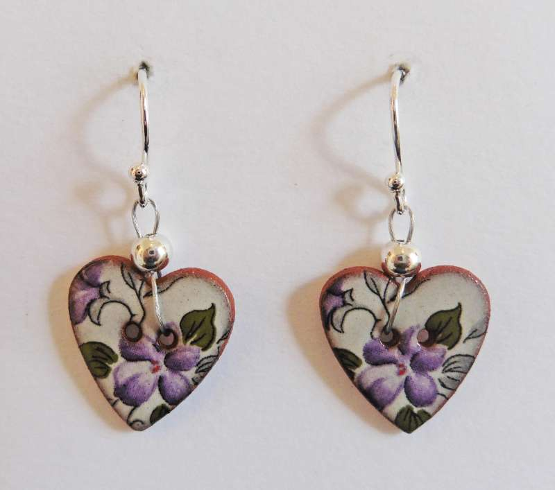 Violet floral heart drop earrings