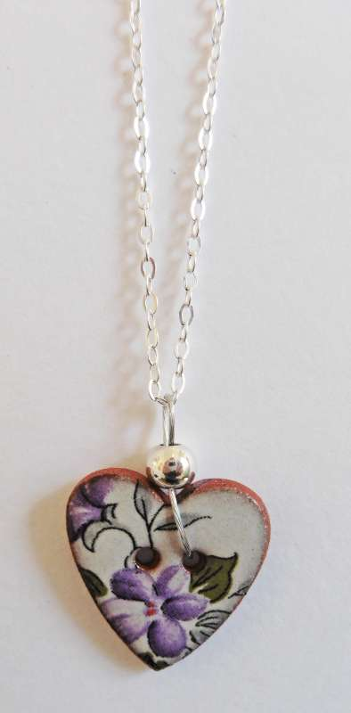 Violet floral heart necklace