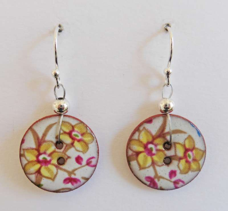 Yellow floral disc drop earrings
