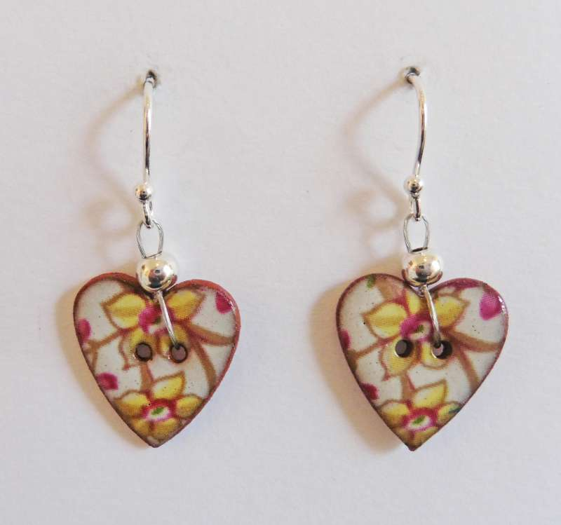 Yellow floral heart drop earrings