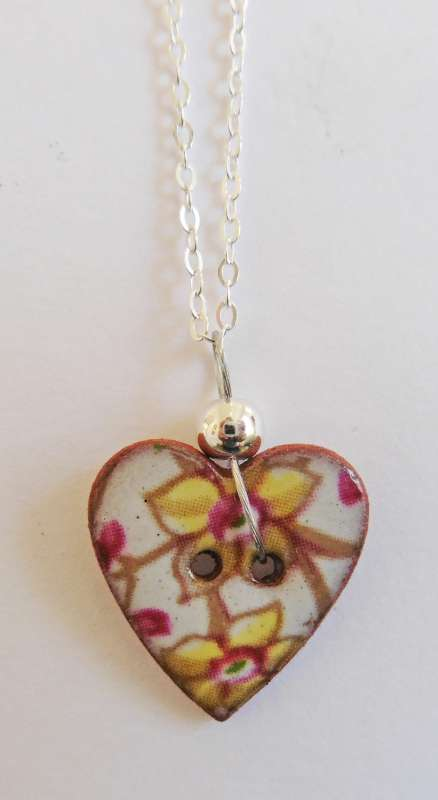 Yellow floral heart necklace