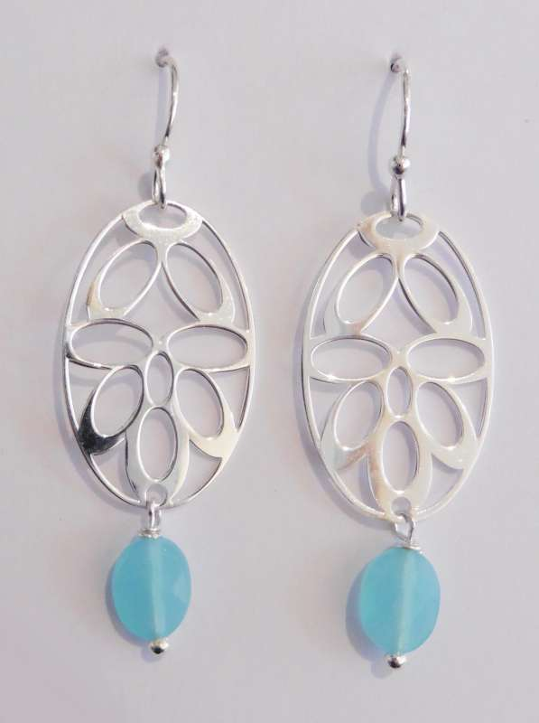 Silver deco drop earrings with aquamarine