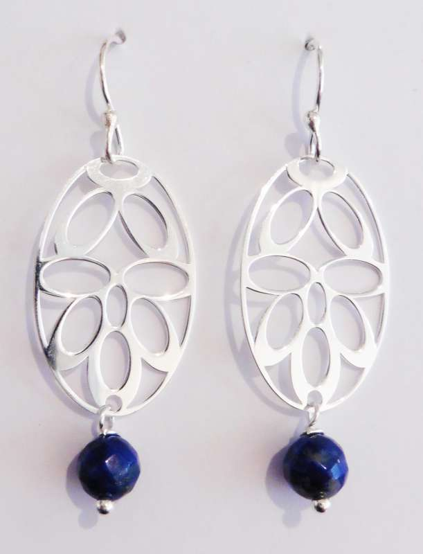 Silver deco drop earrings with blue sodalite