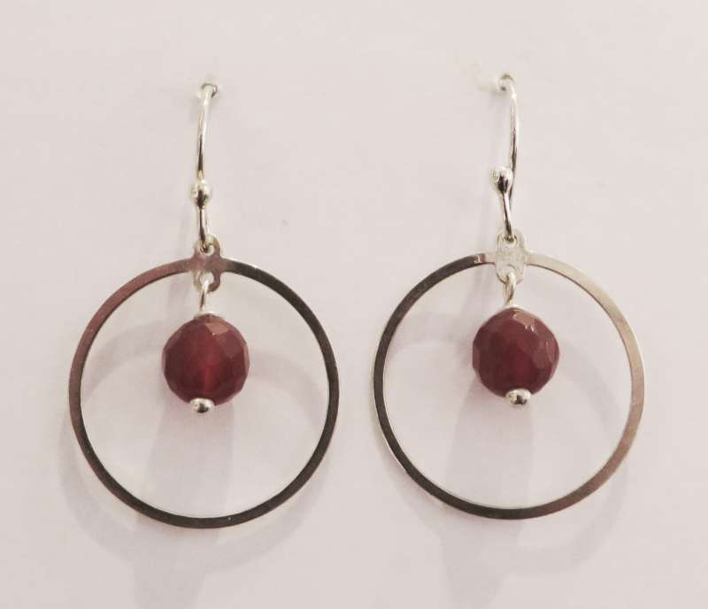 Silver hoop earrings with carnelian