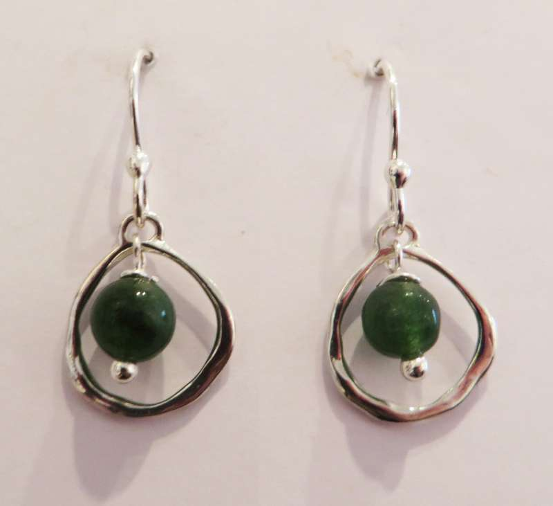 Silver hoop earrings with jade