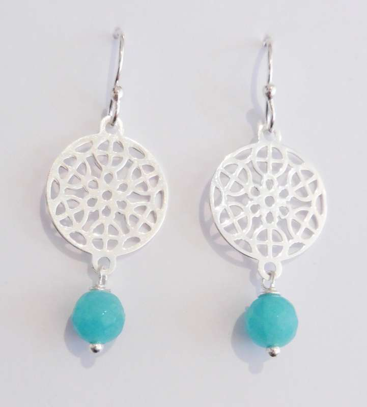 Silver mosaic drop earrings with amazonite