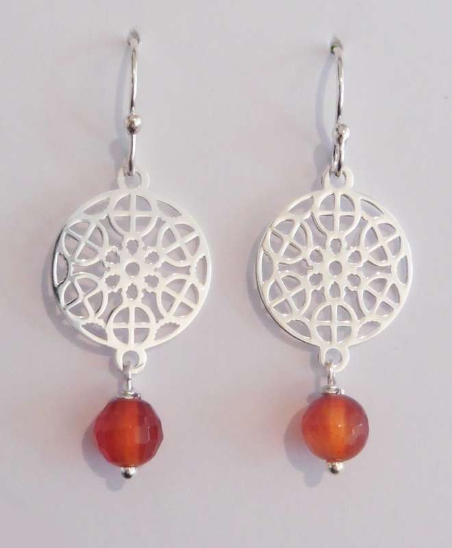 Silver mosaic drop earrings with carnelian
