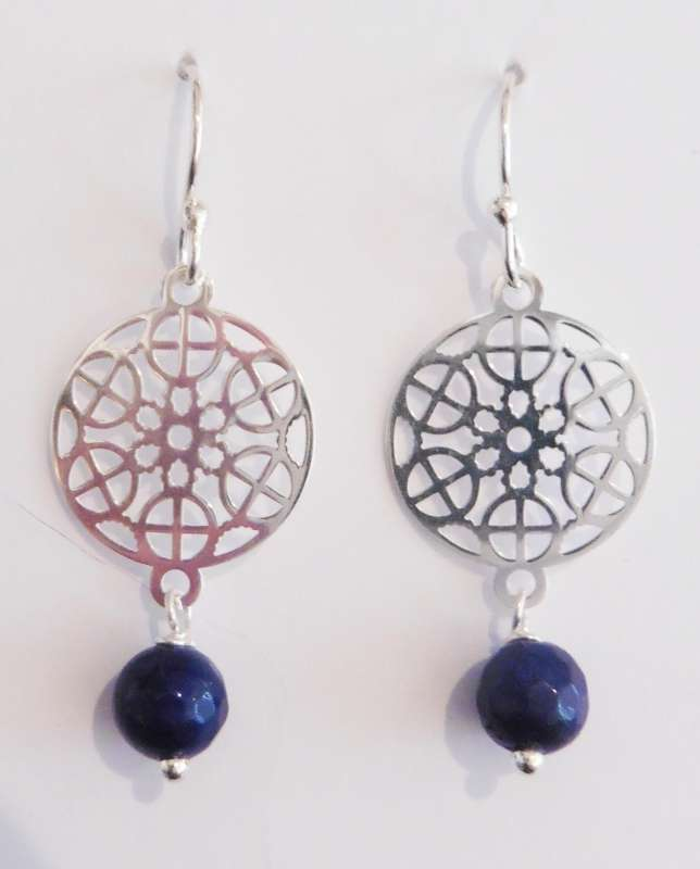 Silver mosaic drop earrings with navy blue quartz
