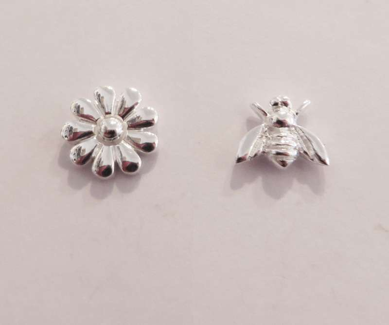 Silver flower and bee stud earrings