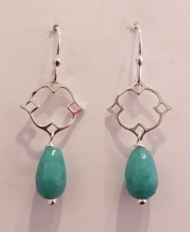 Silver Victoria clover drop earrings (turquoise jade)